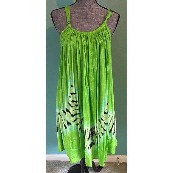 Boutique Dresses - Green Tie Dye Dress Coverup Blue Small to 2X