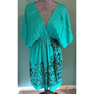 Kimono Dress Coverup Turquoise Teal fit Small - 2X