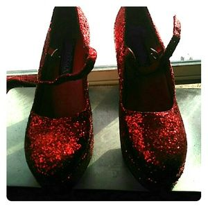 Funtasma Shoes - NWOT Funtasmas Ruby Red Glitter Platform MJ Heels