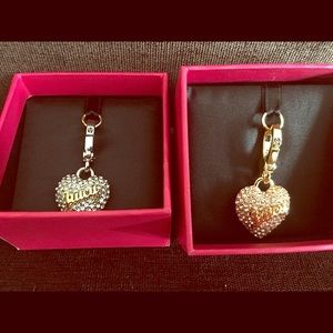 Juicy couture charms hearts silver pink and gold