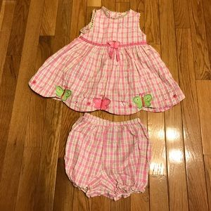 Youngland Other - Youngland girls pink green plaid dress 18M