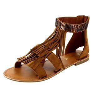 shoeroom21 boutique Shoes - Ladies flat sandal with ankle studs & front fringe