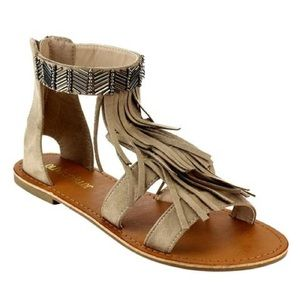 shoeroom21 boutique Shoes - Ladies flat sandals with ankle studs and fringe.