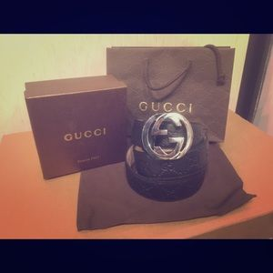 Gucci Other - New black Gucci signature supreme Leather belt!!
