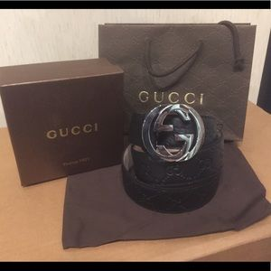 Gucci Other - New black Gucci signature supreme Leather belt!!