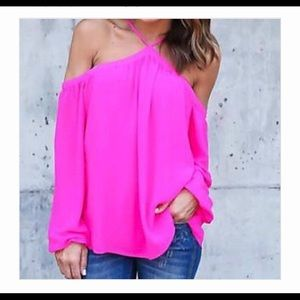 Curvy Couture Tops - Sexy Street Chic Pink Cold Shoulder Top NWT