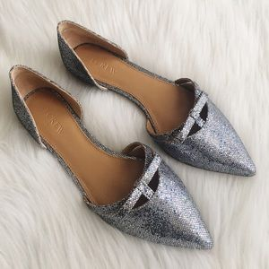 J. Crew Shoes - J.Crew glitter d'orsay flat with mini bow