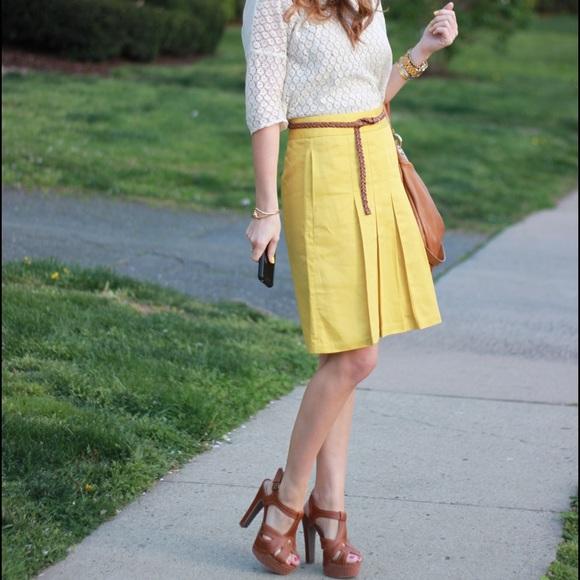 cd4266a3af Banana Republic Skirts | A Line Yellow Skirt Pleated | Poshmark