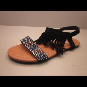 shoeroom21 boutique Shoes - Ladies flat sandal with ankle strap fringe. Black