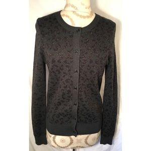 LOFT Sweaters - ANN TAYLOR LOFT METALLIC LEOPARD PRINT CARDIGAN
