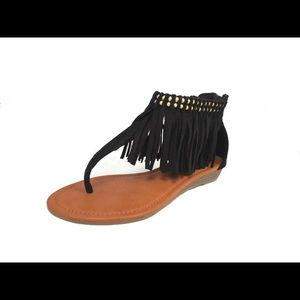 shoeroom21 boutique Shoes - Ladies high top sandals with ankle studs & fringe