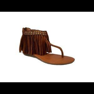 shoeroom21 bourique Shoes - Ladies sandals with studs and ankle fringe.Cognac
