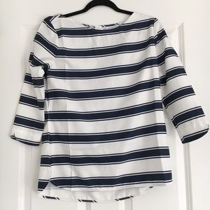 Southern Tide Tops - Navy & White Stripe 3/4 Sleeve Top