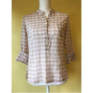 J.Crew lightweight plaid popover shirt