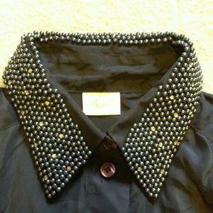 Vintage Tops - Beaded and rhinestone gray silk top
