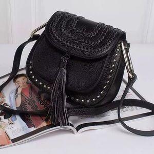 Antik Kraft Handbags - 💕Black Studded Tassel Saddle Bag💕
