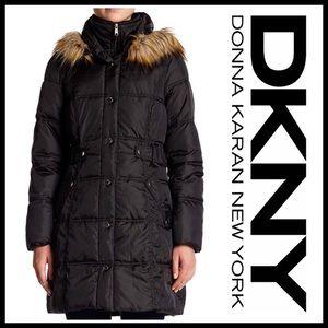 DKNY Jackets & Blazers - ❗1-HOUR SALE❗DKNY Puffer Jacket Faux Fur Trim