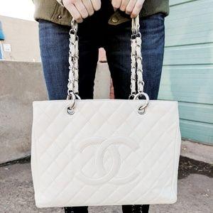 Authentic Chanel White Caviar GST
