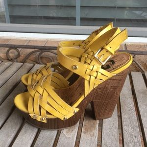 Yellow G by Guess Strappy Wood Platform Heels