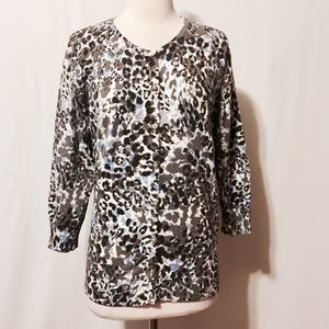 Cable & Gauge Sweaters - Cable & Gauge Animal Print Cardigan