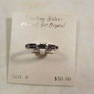 Jewelry - Sterling Silver Crystal Channel Set Ring size 9