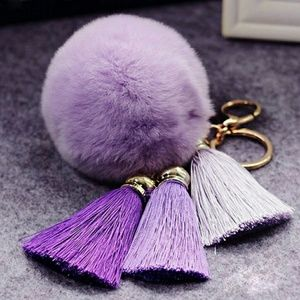 Accessories - 🌷Sale🌷Purple Pom Pom Tassel Keychain