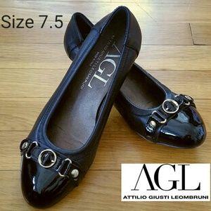 AGL Shoes - AGL Patent Leather Cap Toe Mini Wedge