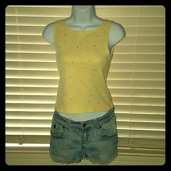 Energie Tops - *Light Yellow Rhinestone Studded Tank!*