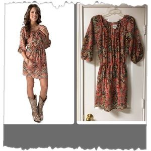 Cowgirl Justice a-line coral Print Peasant Dress
