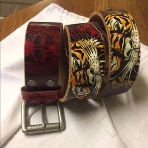 Ed Hardy Accessories - Ed Hardy red belt Tiger head GORGEOUS