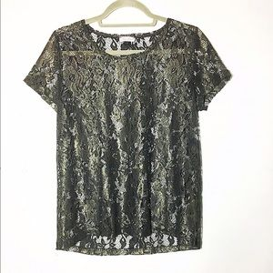 ASOS River Island metallic lace blouse top 10