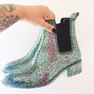 Jeffrey Campbell Shoes - Jeffrey Campbell Stormy Rain Boots in Glitter