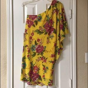Freshine Yellow Floral Chiffon One Shoulder Dress