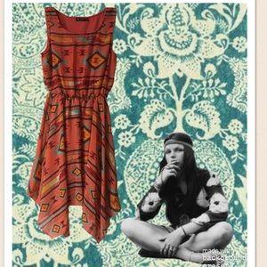 Ruby Rox Coral Aztec Print Asymmetrical Sundress