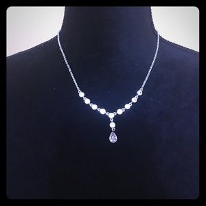 Shiny silver necklace with CZ and crystal