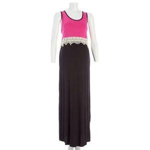 Pinc Premium Dresses & Skirts - PINC NEW Maternity XL Pink Black Lace Maxi Dress