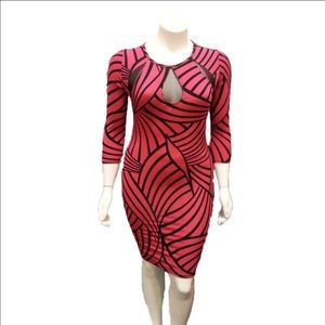 Auditions Dresses & Skirts - Plus Size Pattern Print BodyCon Dress in Fuchsia.