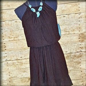 London Times Dresses & Skirts - LONDON TIMES NEW 10 Pet Black Halter Mini Dress