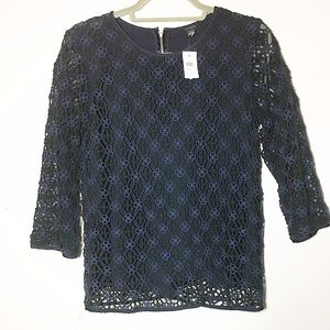 BNWT Ann Taylor lace crochet knit 3/4 sleeve top S