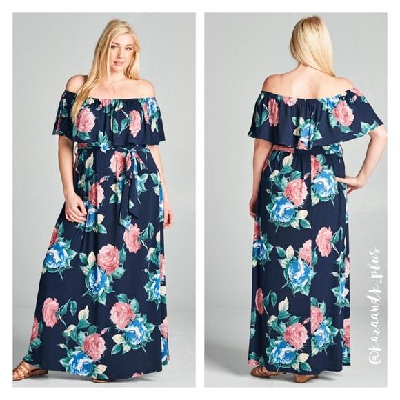 Just In- Plus Size Floral Off Shoulder Maxi Dress Boutique