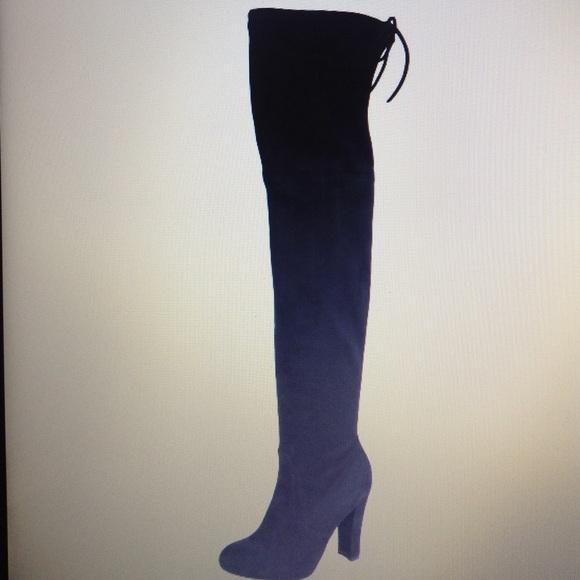 a315a2afcce Christian Siriano Ziya Black Suede Thigh High boot