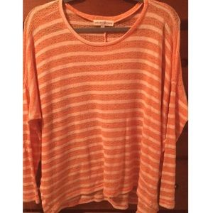 Peach Striped long sleeve top