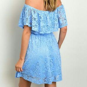 Blue Lace Off the Shoulder Dress
