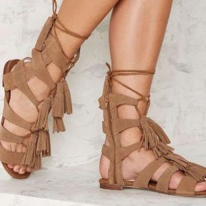 Jeffrey Campbell Shoes - Jeffrey Campbell Hang of Four Beige Suede Sandal