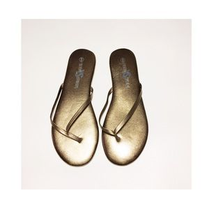 Yosi Samra Shoes - Yosi Samra Metallic Leather Flip Flop