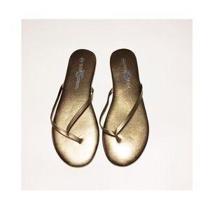 Yosi Samra Metallic Leather Flip Flop