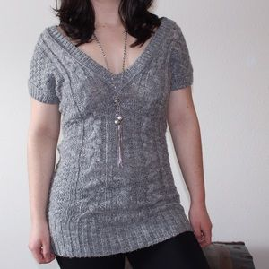 deep v-neck short sleeve wool sweater