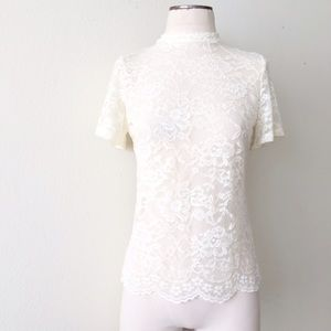 Tops - Ivory Lace Mock Turtleneck Shirt