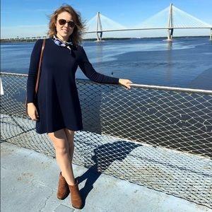 Navy Blue Trapeze Shift Dress