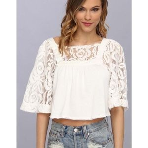 FREE PEOPLE CATALINA CROP LACE BELL SLEEVE TOP